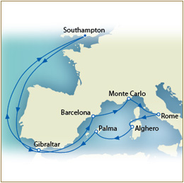 CUNARD QUEEN VICTORIA QV - QV Cunard Map
