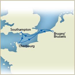 CUNARD QUEEN VICTORIA QV Cunard Map Southampton to Southampton