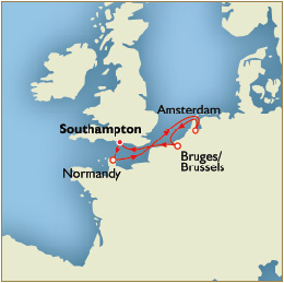 Luxury World Cruise SHIP BIDS - Map Southampton cherbourg rotterdam zeebrugge southampton
