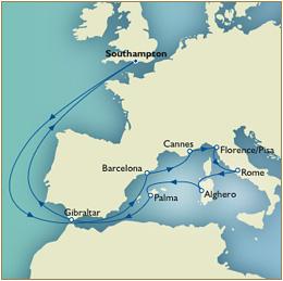 CUNARD QUEEN VICTORIA QV - QV Cunard Southampton to Southampton Mediterranean Explorer