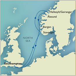 7 Seas LUXURY Cruise Map - Southampton to southampton cunard qv