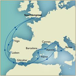 CUNARD QUEEN VICTORIA QV Cunard Map