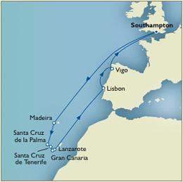 7 Seas LUXURY Cruise Map - Southampton Cunard Queen Victoria