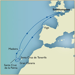 Informations Map Cunard Queen Victoria Southampton