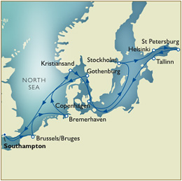 7 Seas Cruises Luxury Map - May 27 June 10 Southampton to Southampton