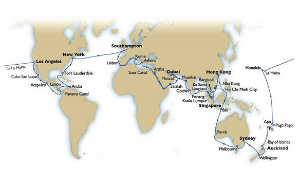 CRUISES - Balconies/Suites Itinerary Map 2018 Cunard Queen Elizabeth World Cruises