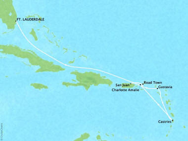 Crystal Luxury Cruises Cruises Crystal Serenity Map Detail Fort Lauderdale, FL, United States to San Juan, Puerto Rico December 6-14 2019 - 8 Days
