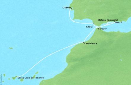Cruises Ponant Yatch Luxury Cruise Expeditions Le Lyrial Map Detail Lisbon, Portugal to Santa Cruz De Tenerife, Spain October 11-19 2022 - 8 Days