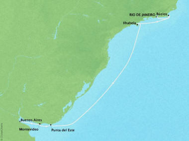 Cruises Crystal Symphony Map Detail Rio De Janeiro, Brazil to Buenos Aires, Argentina January 24 February 3 2019 - 10 Days