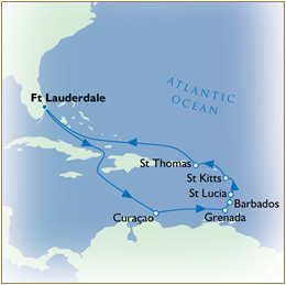 Luxury Cruises Single Map - Fort Lauderdale to Fort Lauderdale
