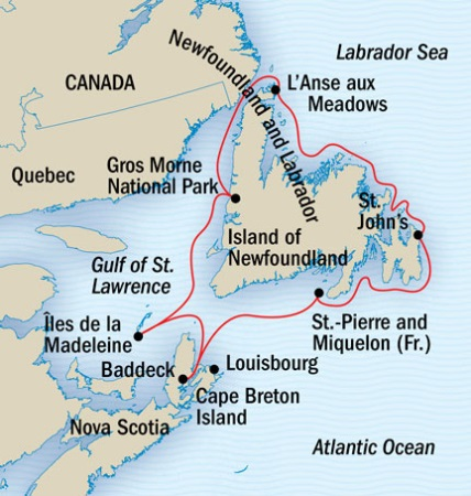 Explorer National Geographic NG Lindblad Expeditions Cruises NG Explorer Map Detail St. John's, Canada to St. John's, Canada September 15-22 2022 - 8 Days