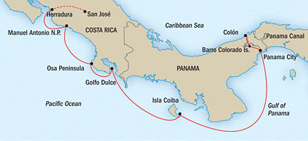 SINGLE Cruise - Balconies-Suites Lindblad National Geographic NG CRUISE Sea Lion  January 17-24 2015 Panama City, Panama to San Jose, Costa Rica