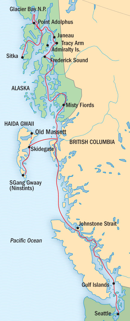 SINGLE Cruise - Balconies-Suites Lindblad National Geographic NG CRUISE Sea Lion September 6-20 Ship Sitka, AK, United States to Seattle, WA, United States