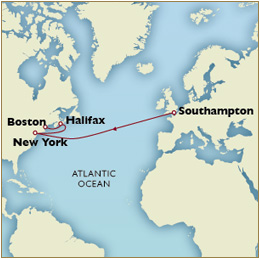 Luxury Cruises SINGLE/SOLO Map Southampton to New York