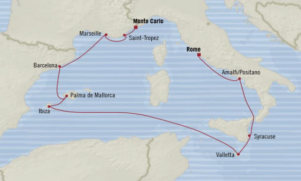 Map Oceania Riviera Cruises Itinerary 2020