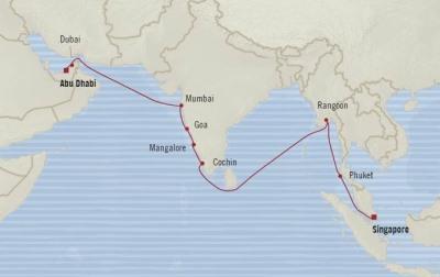 Singles Cruise - Balconies-Suites Oceania Insignia April 14 May 2 2020 Cruises Singapore, Singapore to Abu Dhabi, United Arab Emirates