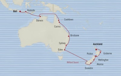 Oceania Insignia February 22 March 17 2017 Cruises Auckland, New Zealand to Benoa (Bali), Indonesia