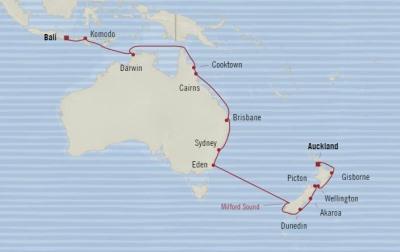 SINGLE Cruise - Balconies-Suites Oceania Insignia February 22 March 17 2020 CRUISE Auckland, New Zealand to Benoa (Bali), Indonesia