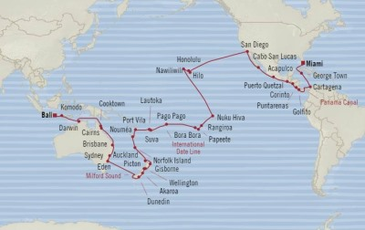 LUXURY WORLD CRUISES - Penthouse, Veranda, Balconies, Windows and Suites Oceania Insignia January 6 March 17 2020 Cruises Miami, FL, United States to Benoa (Bali), Indonesia