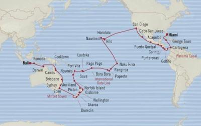 Singles Cruise - Balconies-Suites Oceania Insignia January 6 March 17 2020 Cruises Miami, FL, United States to Benoa (Bali), Indonesia
