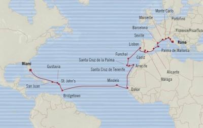 SINGLE Cruise - Balconies-Suites Oceania Marina April 10 May 11 2020 CRUISE Miami, FL, United States to Civitavecchia, Italy