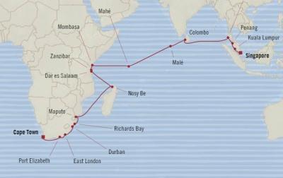 World Cruise BIDS - Oceania Nautica January 5 February 4 2022 Cruises Cape Town, South Africa to Singapore, Singapore