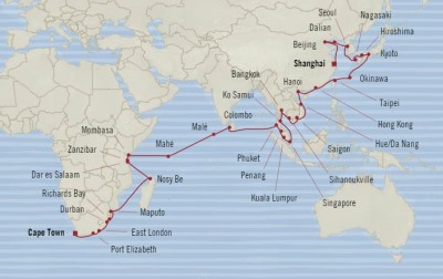 World Cruise BIDS - Oceania Nautica January 5 March 7 2022 Cruises Cape Town, South Africa to Shanghai, China