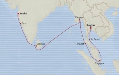 Singles Cruise - Balconies-Suites Oceania Nautica March 27 April 14 2020 Cruises Laem Chabang, Thailand to Mumbai, India