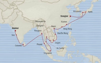 Singles Cruise - Balconies-Suites Oceania Nautica March 7 April 14 2020 Cruises Shanghai, China to Mumbai, India