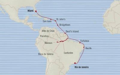 HONEYMOON Oceania Regatta February 2-25 2021 Miami, FL, United States to Rio De Janeiro, Brazil