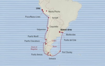 Oceania Regatta March 7-29 2017 Cruises Buenos Aires, Argentina to Callao, Peru