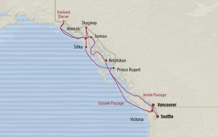 MAP - Cruises Oceania Regatta Itinerary 2019