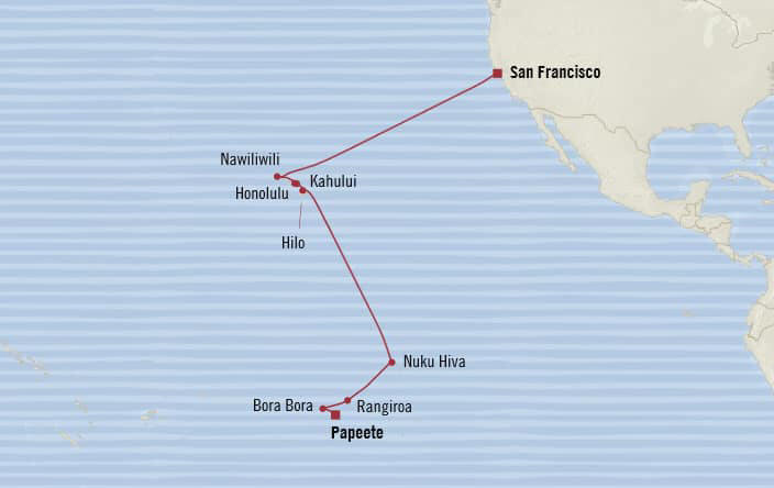MAP - Cruises Oceania Regatta Itinerary 2020