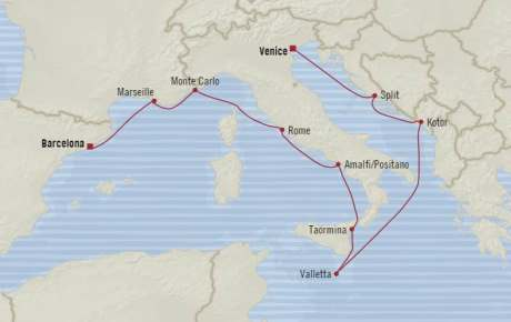 LUXURY CRUISE - Balconies-Suites Oceania Riviera May 16-28 2020 Cruises Venice, Italy to Barcelona, Spain