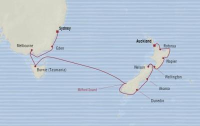 Single-Solo Balconies-Suites Oceania Sirena April 9-23 2022 CRUISE Sydney, Australia to Auckland, New Zealand