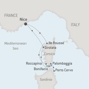 Ponant Yacht Cruises Le Ponant  Map Detail Nice, France to Nice, France July 12-19 2017 - 7 Days