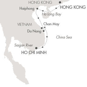 SINGLE Cruise - Balconies-Suites Ponant Yacht L'Austral Cruise Map Detail Hong Kong, China to Ho Chi Minh City, Vietnam November 13-22 2019 - 9 Days