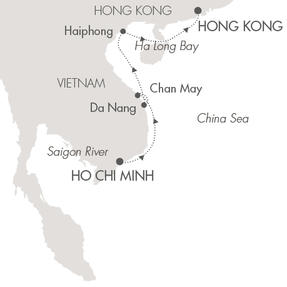 SINGLE Cruise - Balconies-Suites Ponant Yacht L'Austral Cruise Map Detail Ho Chi Minh City, Vietnam to Hong Kong, China November 4-13 2019 - 9 Nights