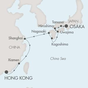 Singles Cruise - Balconies-Suites Ponant Yacht L'Austral Cruise Map Detail Osaka, Japan to Hong Kong, China October 14-26 2019 - 12 Days