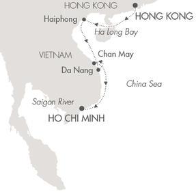 Singles Cruise - Balconies-Suites Ponant Yacht L'Austral Cruise Map Detail Hong Kong, China to Ho Chi Minh City, Vietnam October 26 November 4 2019 - 9 Days