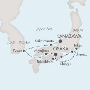 World CRUISE SHIP BIDS - Ponant Yacht L'Austral CRUISE SHIP Map Detail Kanazawa, Japan to Osaka, Japan October 5-14 2023 - 9 Days