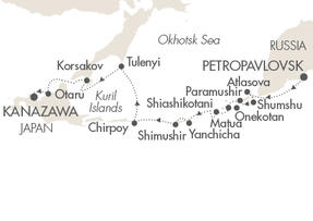 SINGLE Cruise - Balconies-Suites Ponant Yacht L'Austral Cruise Map Detail Petropavlovsk-Kamchatskiy, Russia to Kanazawa, Japan September 21 October 5 2019 - 15 Days