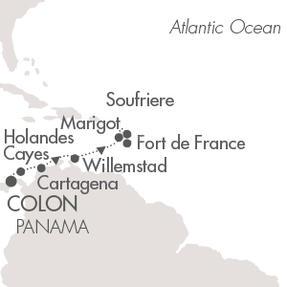Single-Solo Balconies-Suites Ponant Yacht Le Boreal Cruise Map Detail Colon, Panama to Fort-de-France, Martinique April 7-14 2023 - 7 Nights