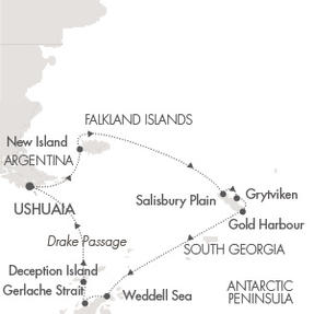 Ponant Yacht Le Boreal Cruise Map Detail Ushuaia, Argentina to Ushuaia, Argentina November 15-30 2020 - 15 Days