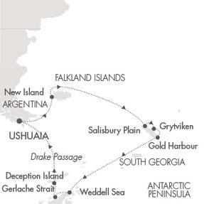 Single-Solo Balconies-Suites Ponant Yacht Le Boreal Cruise Map Detail Ushuaia, Argentina to Ushuaia, Argentina November 15-30 2023 - 15 Nights