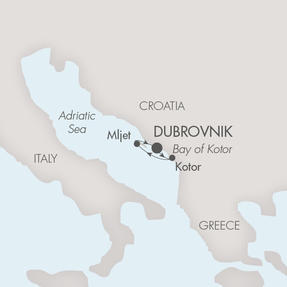 LUXURY CRUISE - Balconies-Suites Ponant Yacht Le Lyrial Cruise Map Detail Dubrovnik, Croatia to Dubrovnik, Croatia May 6-9 2019 - 4 Days