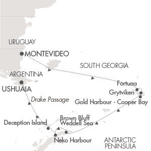Singles Cruise - Balconies-Suites Ponant Yacht Le Lyrial Cruise Map Detail Montevideo, Uruguay to Ushuaia, Argentina November 19 December 4 2019 - 15 Days