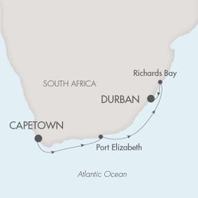 LUXURY CRUISES - Penthouse, Veranda, Balconies, Windows and Suites Ponant Yacht Le Lyrial Cruise Map Detail Cape Town, South Africa to Durban, South Africa March 25 April 2 2020 - 9 Days