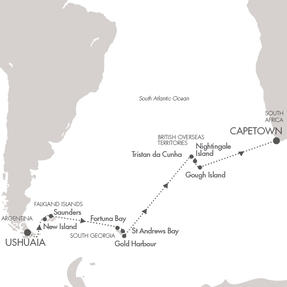 Single-Solo Balconies-Suites Ponant Yacht Le Lyrial Cruise Map Detail Ushuaia, Argentina to Cape Town, South Africa March 4-25 2022 - 21 Nights