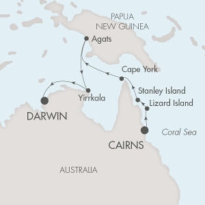 Single-Solo Balconies-Suites Ponant Yacht Le Ponant Cruise Map Detail Cairns, Australia to Darwin, Australia February 22 March 4 2021 - 12 Nights